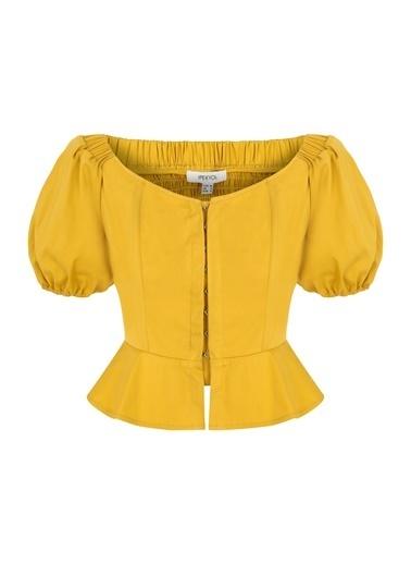 Ipekyol Kadın  Bluz IS1200006232 Hardal